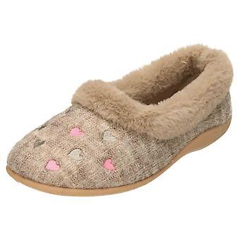 JWF Slippers Pink Heart Memory Foam House Shoes