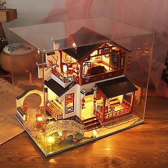 Diy wooden dollhouse chinese town architecture doll houses miniatures with furniture toys for children friend birthday gift