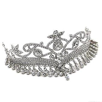 Tiara Princess Crown Wedding Bridal Drop Pendant Crystals Headband Hairwear