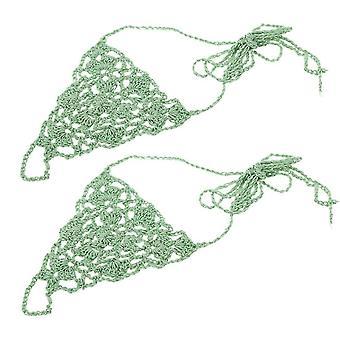 Grön bomull tråd virkad fotkedja armband anklet geometrisk strand barfota sandal tå ring