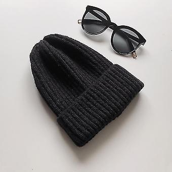 Talvi Korealainen beanie-lippis, New Candy Color Casual Hip Hop Hat (musta)