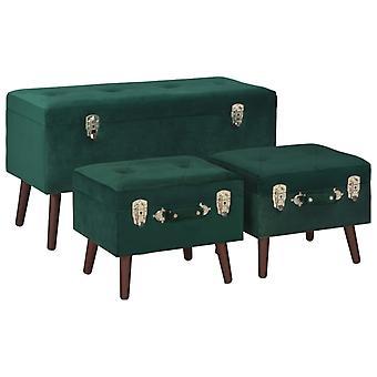 vidaXL stool with storage space 3 pcs. Green velvet