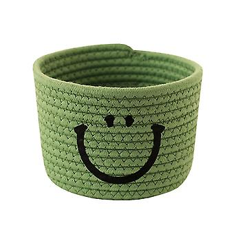 Smiley Small Cotton Rope Basket Woven Storage Basket for Sundries Cosmetics Toys Organizer Bathroom