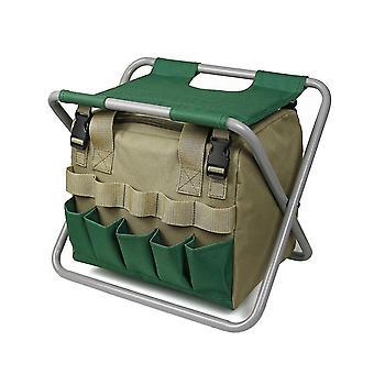 Hagestol Med Tote Bag Multifunksjonell Pose Sammenleggbart Sete Utendørs Stol Verktøy Arrangør (Khaki