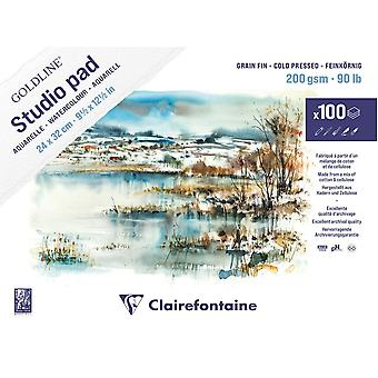 Clairefontaine Goldline Watercolour Studio Pad 100 Sheets 200gsm