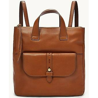 Fossil Hunter Brown Leather Backpack Brass Hardware SHB2695210