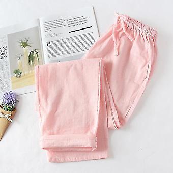 באביב ובקיץ זוגות כותנה כפולה גזה מכנסי שינה דקים