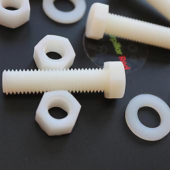 10x naturligt nylon hex huvud, M12 x 50mm, plastmuttrar och bultar, brickor, Hexagon, Nylon