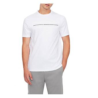 Armani Exchange Mens Präglad T-shirt Vit