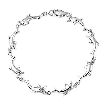 Silber Dolphin Charm Armband für Damen 925 Sterling Gestempel Schmuck 7.25 ''