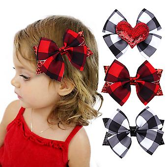 3pcs Children's Bowknot Hairpin Lattice Love Headdress Girl Hair Accessories