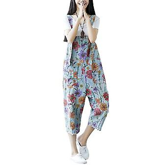 Woman Plus Size Demin Flower Printed Jean Overalls