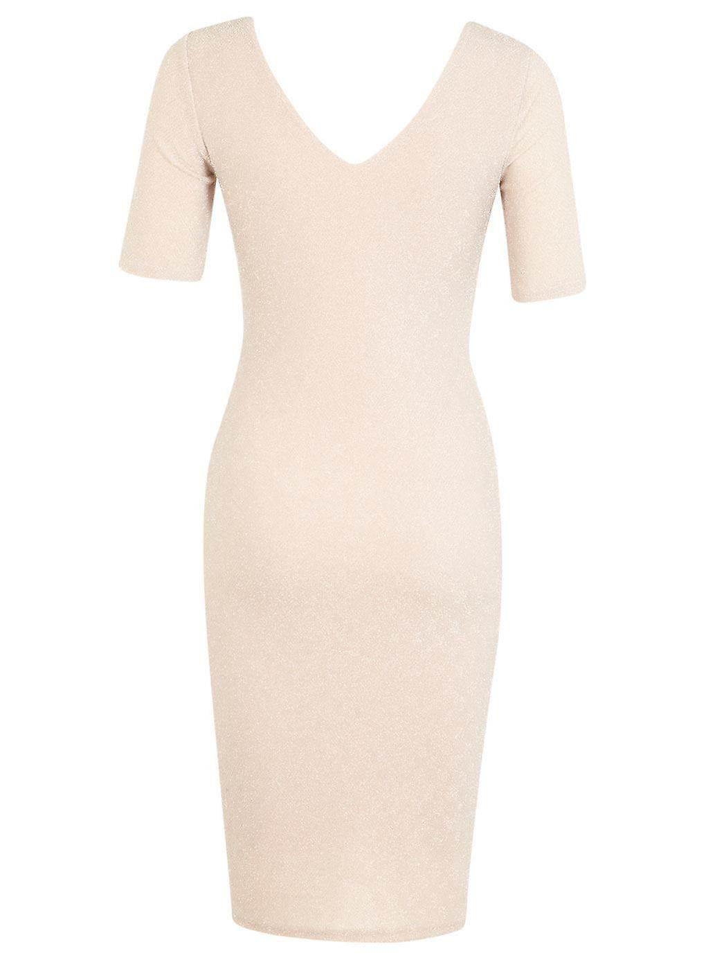 Miss Selfridge Nude Glitter Bodycon Dress