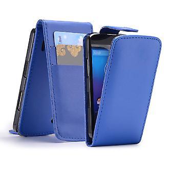 Flip wallet PU leather case cover for Google LG Nexus 4 E960 + stylus - Deep Blue