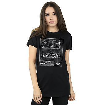 Disney Women's Cars Jackson Storm Blueprint Boyfriend Fit T-Shirt