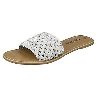 Dam Läder samling platta väva Mule sandaler F00073