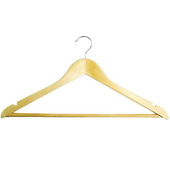 100x Caraselle Wooden Shaped Suit Hangers 44cm. Trouser Bar & Notches