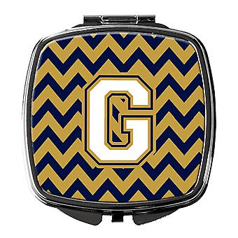 Letter G Chevron Navy Blue and Gold Compact Mirror