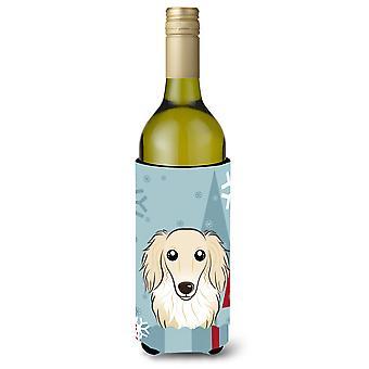 Winterurlaub Langhaar Dackel Creme Flasche Wein Getränke Isolator Hugger