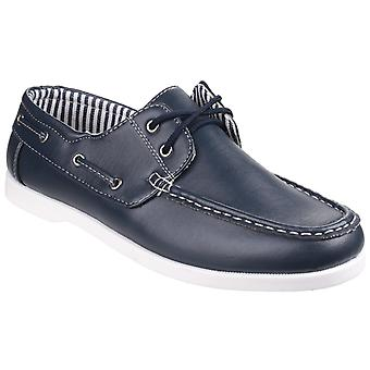 Fleet & Foster Mens Falmouth Lace Up Boat Shoe Navy