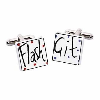 Flash Git Cufflinks por Sonia Spencer, na apresentação de caixa de presente. Pintados à mão