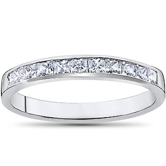Princess Cut 1/2ct Diamond Wedding Anniversary 14K Ring White Gold