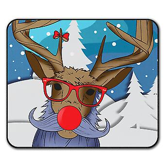 Christmas Deer Red  Non-Slip Mouse Mat Pad 24cm x 20cm | Wellcoda