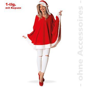 Miss Santa Claus Kapuzenponcho Nikolausin Nikolaus Damen Kostüm
