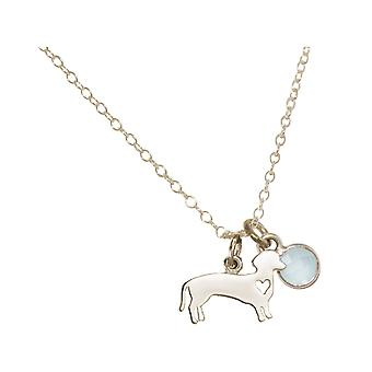 GEMSHINE necklace dachshund, dog, gemstone. 925 Silver,gilded,rose pet