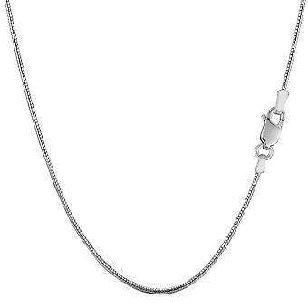 Sterling sølv Rhodium belagte runde slange kæde halskæde, 1,1 mm