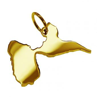 Trailer map pendants in gold yellow-gold in the form of GUADELOUPE