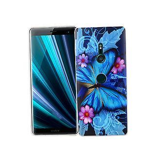 Sony Xperia XZ3 puhelimen tapauksessa suojakotelo kansi puskuri perhonen sininen