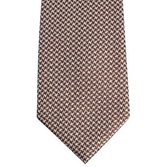 David Van Hagen Houndstooth Tie - marrom/branco