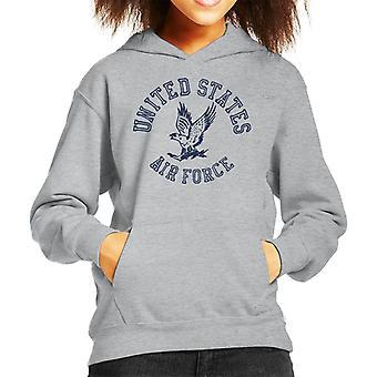 US Airforce Eagle Navy Blue Text Kid's Hooded Sweatshirt
