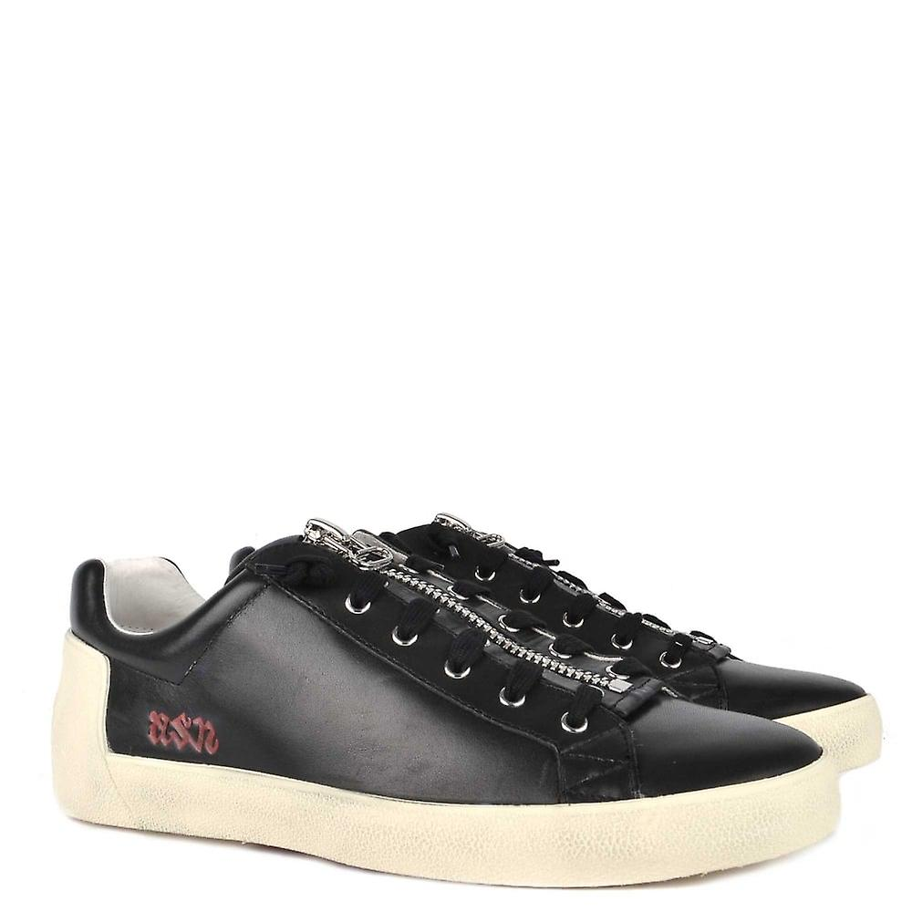 Ash Footwear Mens' Nilo Black Leather With Zip Trainer