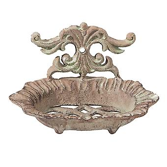 Clayre & romance de EEF jabón plato shabby cottage hierro marrón verde 16 x 9 x 11 cm