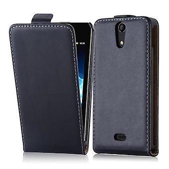Cadorabo Etui Sony Xperia V en CAVIAR noir - étui dans la conception flip en cuir lisse art - housse Etui pochette pochette sac livre Klapp style