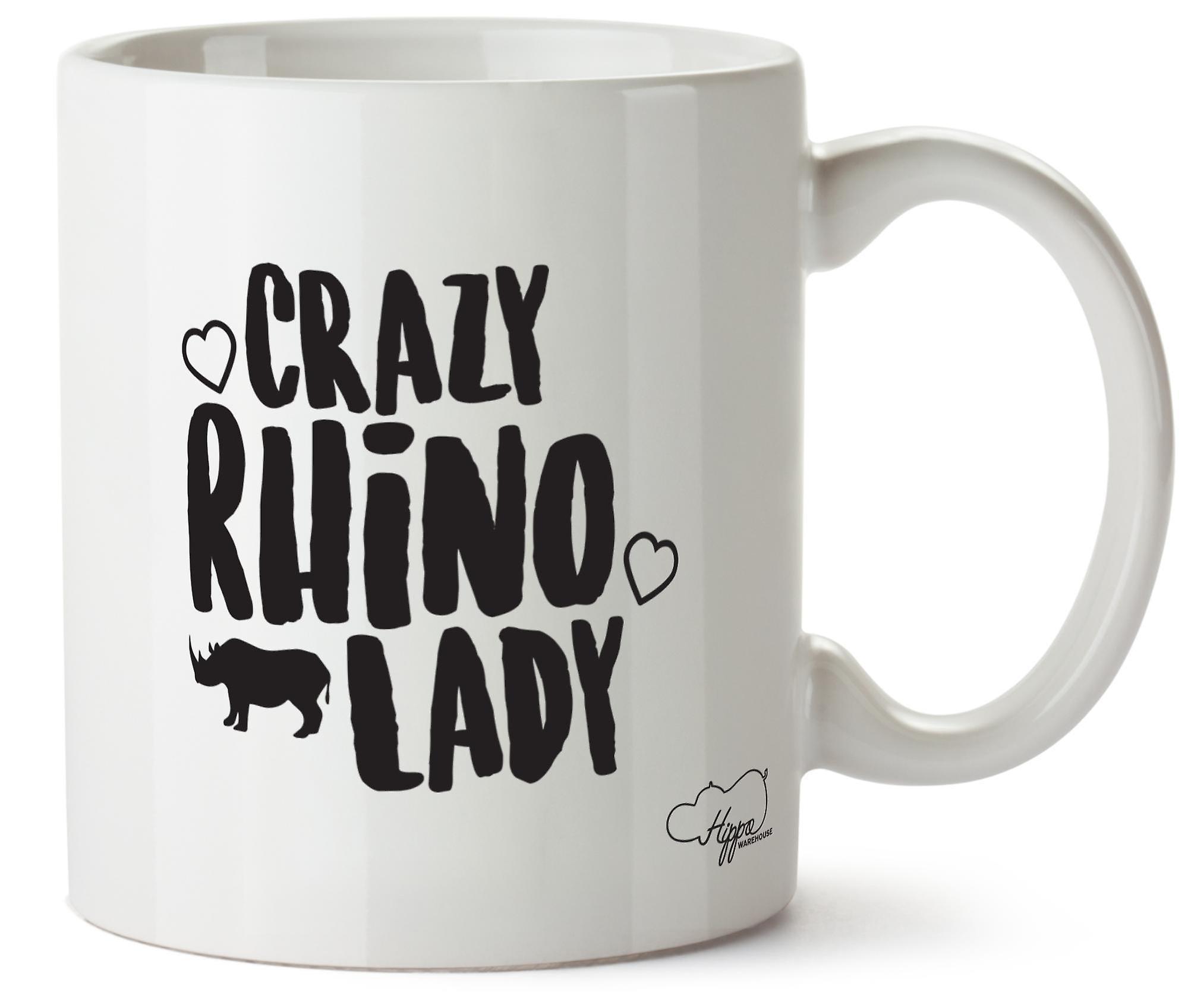 Hippowarehouse ума Rhino леди напечатаны Кубка керамическая кружка 10oz