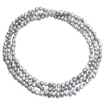 Pearls of the Orient Cultured Freshwater Pearl Loop Necklace - Silver Grey