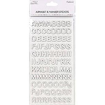 Simply creative Trimcraft Alphabet & Number Stickers - Modern Chipboard White (SCSTK009)