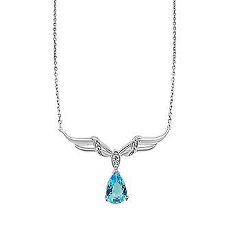 О, да! Ювелирные изделия Стерлинг Серебряный крыло кулон ожерелье с Аквамарин груша кристалл