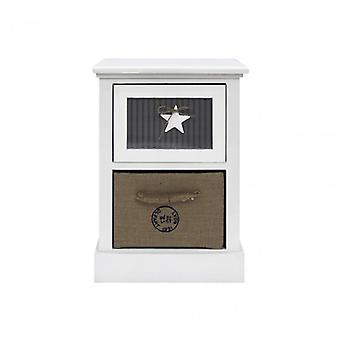 Furniture Rebecca Comodino 2 White Wood drawers Beige Grey Room 49x34x29