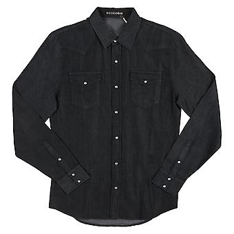 Religion Mens Clothing Religion Long Sleeved Exit Shirt,Black