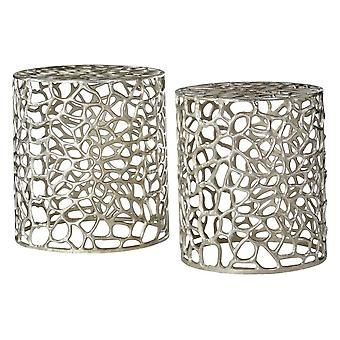 Fusion Living Silver Circular Side Tables With Cut Out Detail