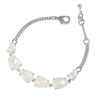 Eternal Collection Seduction Teardrop White Opal Crystal Silver Tone Fashion Bracelet