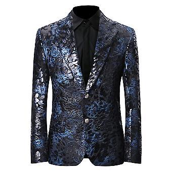 Allthemen miesten ylellinen rento sametti puku Slim Fit kukka tulostaa tyylikäs bleiseri takit Chic takit