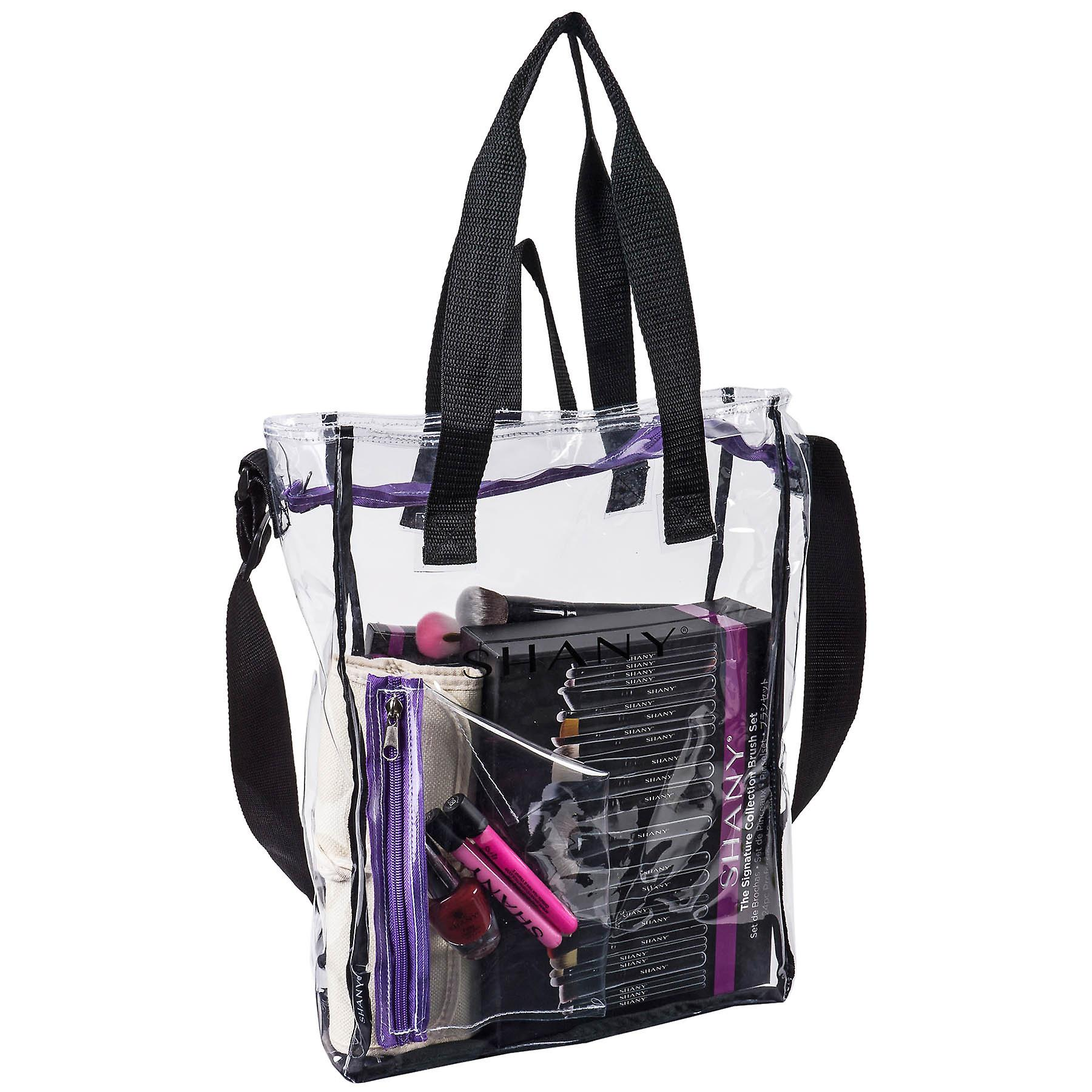 SHANY Clear Toiletry and Makeup Carry-On Travel Bag – Large Multiple Handle, Two-Tone Tote with Purple Front Zippered Pocket