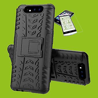 Para Samsung Galaxy A80 híbrido caso 2Parts preto + vidro temperado caso capa capa