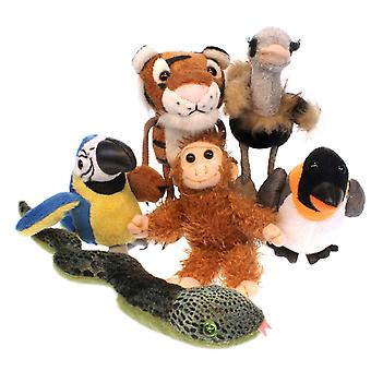 Finger Puppet - Zoo Animals Set of 6 New Soft Doll Plush PC002030