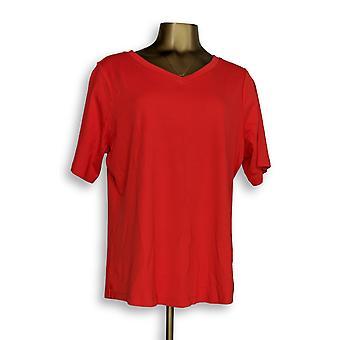 Isaac Mizrahi Live! Women's Plus Top V-Neck Essentials Pima Rojo A349269